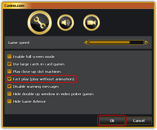 Casino.com Settings Window